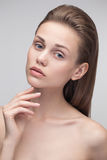 Beauty portrait of a young natural pure woman. Royalty Free Stock Photos