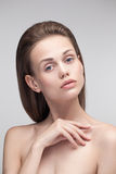 Beauty portrait of a young natural pure woman. Stock Photo