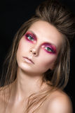 Beauty portrait of young pretty girl with fashion make-up Royalty Free Stock Photography
