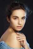 Beauty portrait of young pretty woman in studio Stock Photo