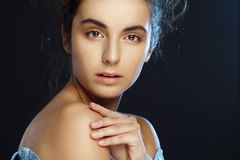Beauty portrait of young pretty woman in studio Stock Images