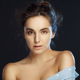 Beauty portrait of young pretty woman in studio Stock Photos