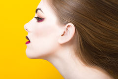 Beauty portrait of young white girl with creative makeup and hair isolated on yellow background. Royalty Free Stock Photography