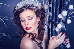 Beauty portrait of young woman as Snow Queen character Royalty Free Stock Photo