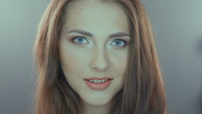 Beauty portrait of young woman with beautiful stock footage