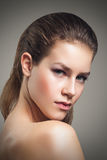 Beauty portrait of young woman with beautiful healthy face Royalty Free Stock Image