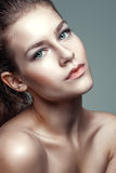 Beauty portrait of young woman with beautiful healthy face with nice makeup Stock Photos
