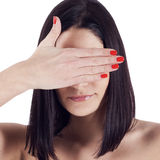 Beauty portrait of young woman with closed eyes in studio Royalty Free Stock Images