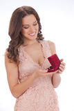 Beauty portrait of a young woman happy dear gift royalty free stock photo