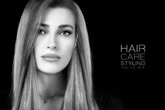Beauty portrait of a young woman with healthy long hair. Haircare and hairstyle products. Beautiful young woman with healthy long hair and a smooth flawless skin royalty free stock images