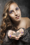 Beauty Portrait of  Young Woman with Long Hair with Eyebrows of Royalty Free Stock Photos