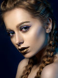 Beauty portrait of young woman with modern make up Stock Images