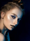 Beauty portrait of young woman with modern make up Royalty Free Stock Photos