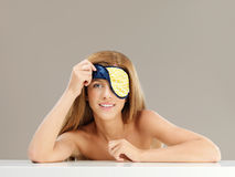 Beauty portrait young woman with sleeping mask Royalty Free Stock Photography