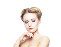 Beauty portrait of a young woman on white Stock Photography