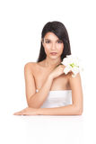 Beauty portrait of a young woman white lily Stock Photos