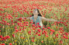 Beauty posing into the flowers Stock Image