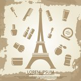 Beauty poster with cosmetics and Eiffel tower Stock Photography