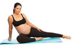 Beauty pregnant doing exercises Stock Image