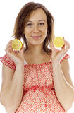 Beauty pregnant woman. Studio photo of beauty pregnant woman with lemon Royalty Free Stock Photography