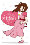 Beauty Pregnant Woman with Greeting Message for Mother's Day, Vector Illustration Royalty Free Stock Images