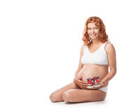 Beauty pregnant woman in lingerie over Stock Photos