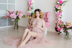 Beauty Pregnant Woman . Pregnant Belly. Royalty Free Stock Photo