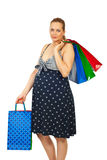 Beauty pregnant woman at shopping Stock Photography