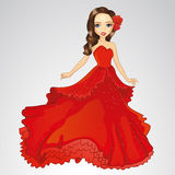 Beauty Princess In Red Dress. Vector illustration of beautiful princess in fashion red dress stock illustration