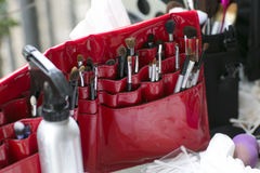 Make up brush case in bright red. A red case with make up brushes and other beauty product appliers (makeup Stock Photos