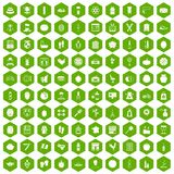 100 beauty product icons hexagon green. 100 beauty product icons set in green hexagon isolated vector illustration Royalty Free Stock Images