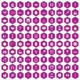 100 beauty product icons hexagon violet Royalty Free Stock Images