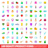 100 beauty product icons set, cartoon style. 100 beauty product icons set in cartoon style for any design vector illustration Royalty Free Illustration