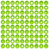 100 beauty product icons set green circle Royalty Free Stock Image