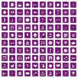100 beauty product icons set grunge purple. 100 beauty product icons set in grunge style purple color isolated on white background vector illustration Royalty Free Stock Images