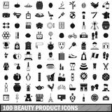 100 beauty product icons set, simple style. 100 beauty product icons set in simple style for any design vector illustration Stock Illustration