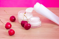Beauty product with natural ingredients (cherries) Royalty Free Stock Photography