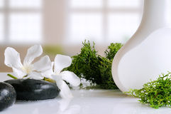 Beauty product with seaweed in a bath. Beauty product with seaweed in white container on a white glass table in a bath Royalty Free Stock Images