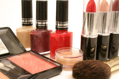Beauty products. Shot of assortment of beauty products on white stock photography