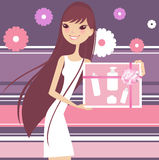 Beauty products. Pretty girl holding spa beauty products royalty free illustration