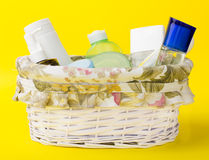 Beauty products basket Royalty Free Stock Image