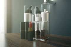 Beauty products closeup. Close up of wooden dressing table with red lipstick and various other beauty products. 3D Rendering Royalty Free Stock Photos