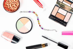Beauty products collection on white background, Stock Photography