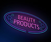 Beauty products concept. 3d Illustration depicting an illuminated neon sign with a beauty products concept Stock Images