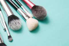 Beauty products, everyday make-up brushes, cosmetics Royalty Free Stock Photo