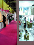 Beauty products at expo. Stands of beauty products at the exhibition Professional beauty expo 2014 in Mumbai 2-3rd June 2014. Photo taken on: 3rd June 2014 stock image
