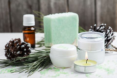 Beauty products and handmade soap Royalty Free Stock Photo