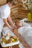 Beauty products in luxury spa room Stock Photos