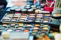 Beauty products in a makeup artist case Stock Photo