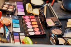 Beauty products in a makeup case Stock Image